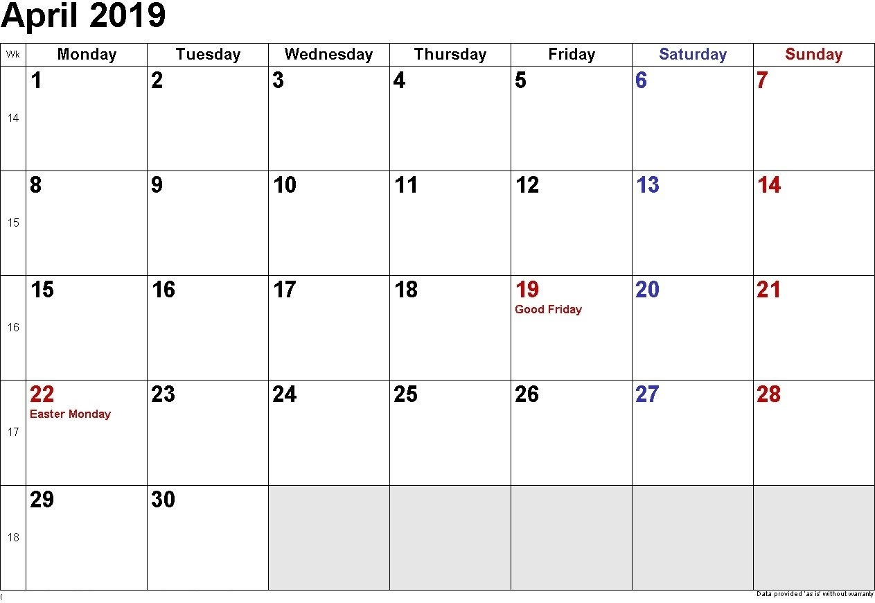 April 2019 Calendar With Holidays - Free Printable Calendar Calendar 2019 Good Friday