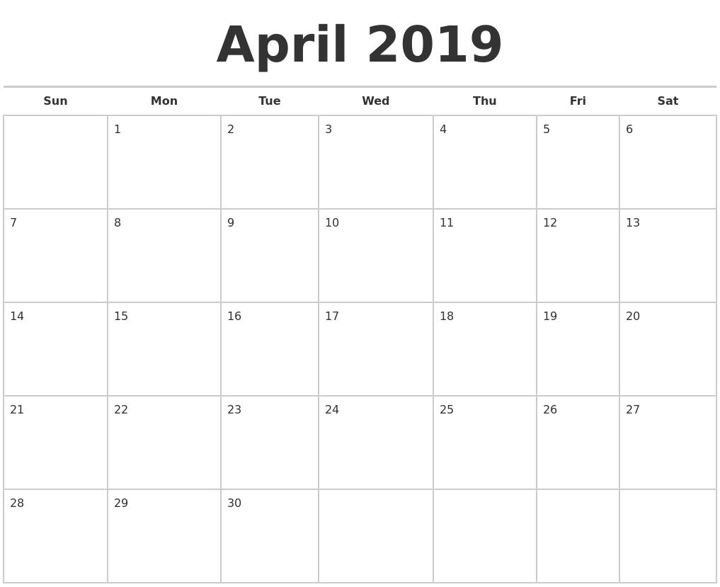 April 2019 Calendars Free Calendar April 30 2019
