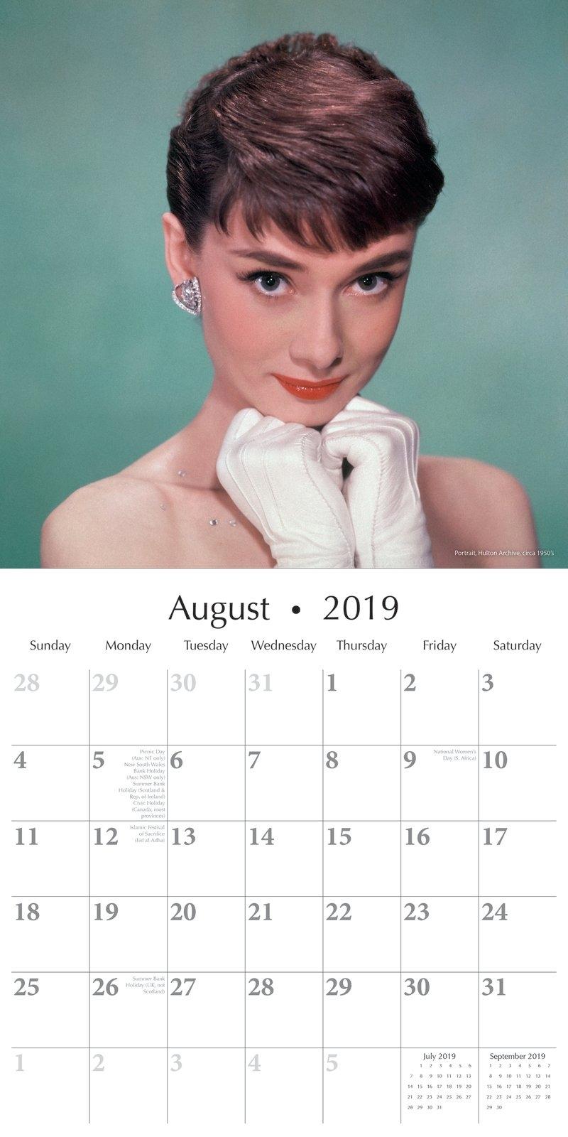 Audrey Hepburn – 2019 Wall Calendar 16 Month Premium Square 30X30Cm X Calendar 2019 Models
