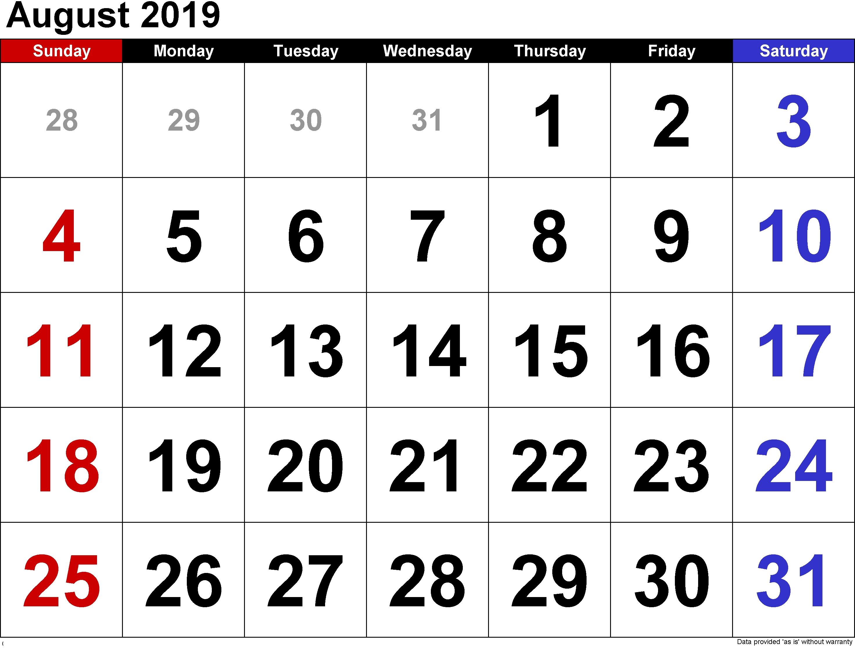 August 2019 Blank Holiday Calendar – Printable Calendar 2018 19 Calendar Of 2019 August