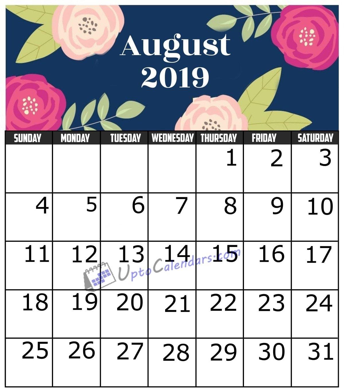 August 2019 Calendar Printable Template With Holidays Pdf Word Excel 8 August 2019 Calendar