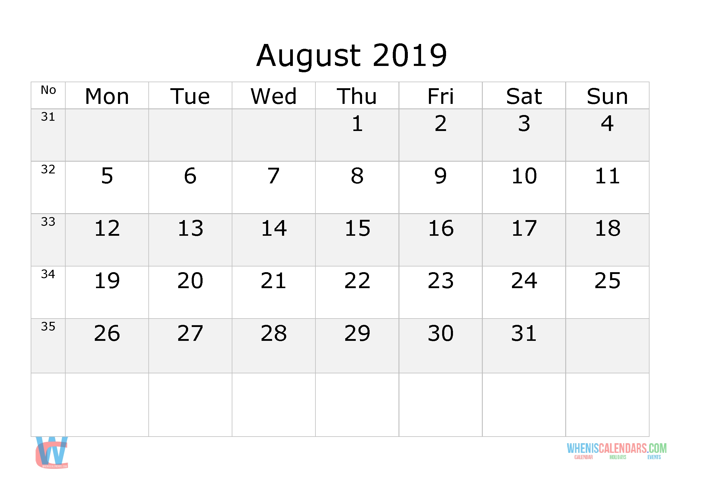 August 2019 Calendar With Week Numbers Printable, Startmonday 8 August 2019 Calendar