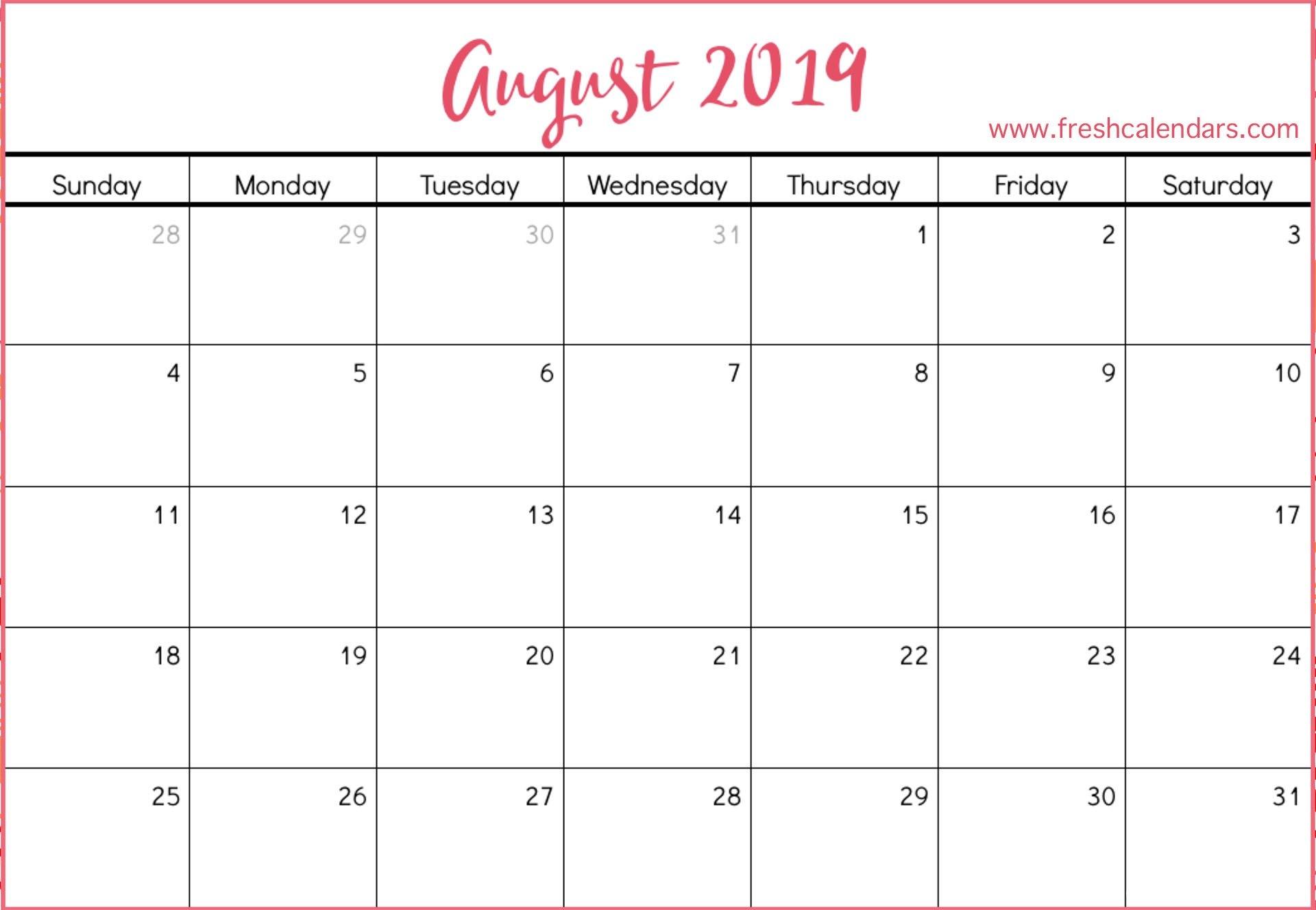 August 2019 Printable Calendars – Fresh Calendars Calendar Of 2019 August
