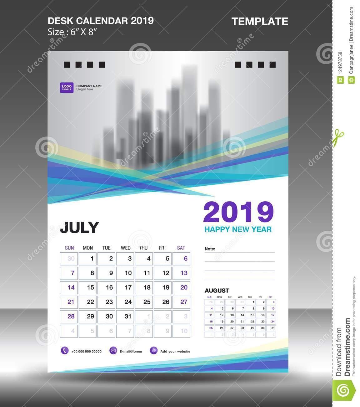 August – Desk Calendar 2019 Template, Flyer Design Vector, Blue Calendar 2019 Design