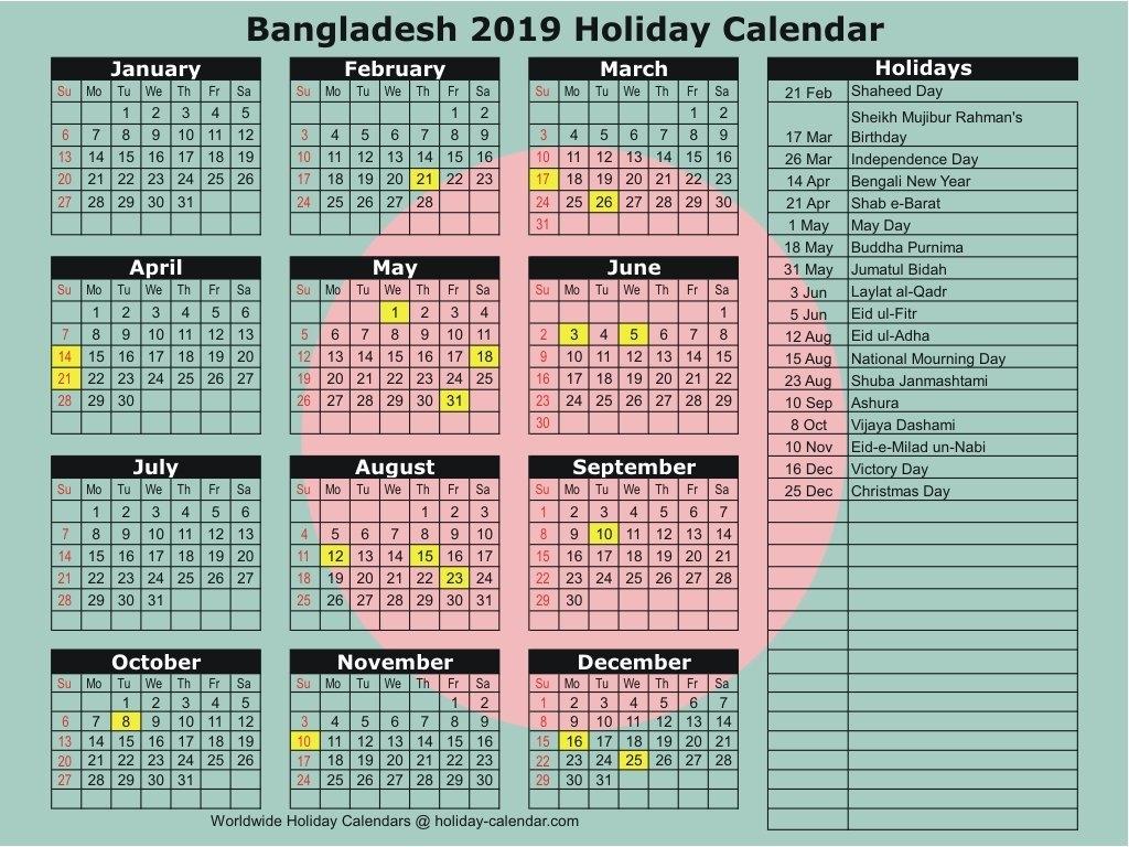 Bangladesh 2019 / 2020 Holiday Calendar Calendar Of 2019 With Holidays In Bangladesh