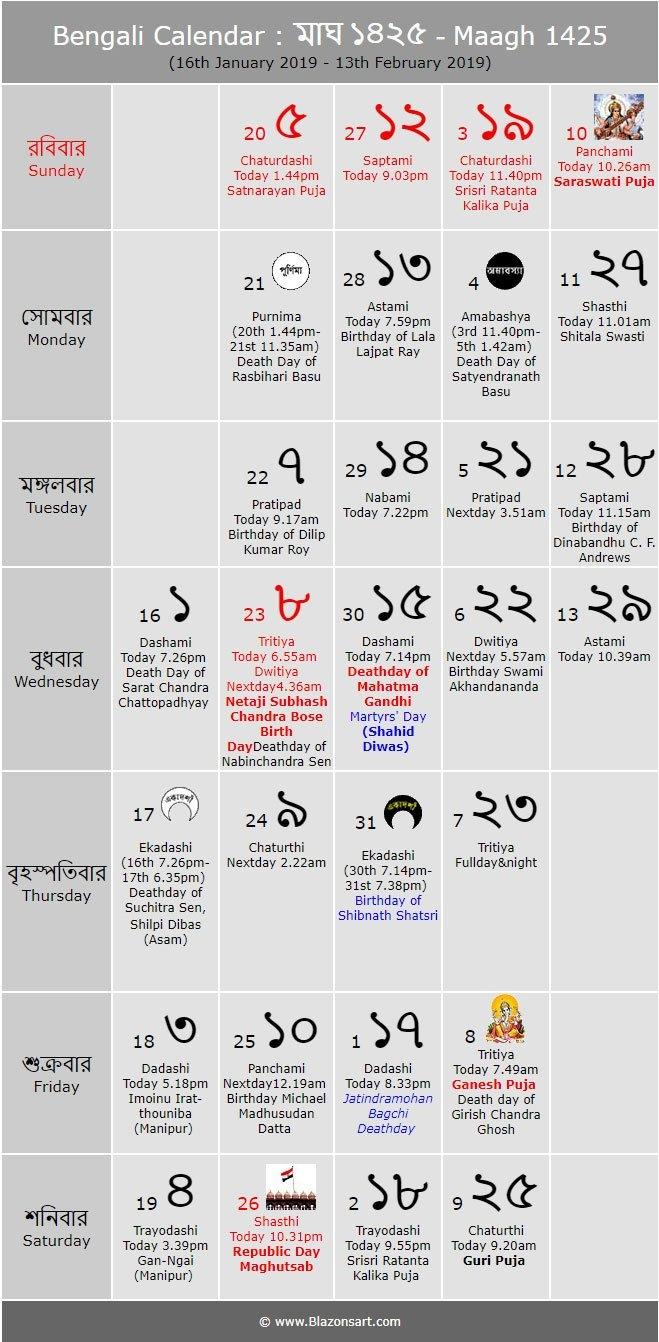 Bengali Calendar 1425 (Eng: 2018 2019) – Bengali Calendar 2019 20