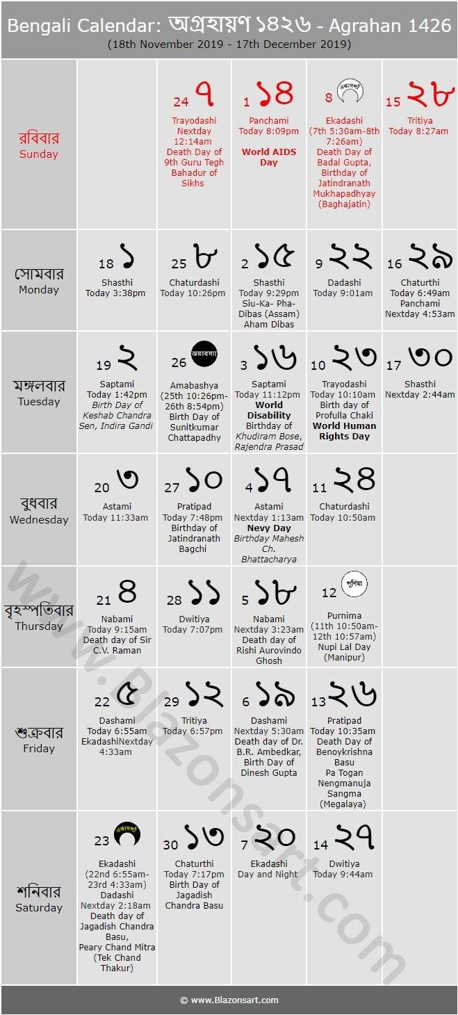 Bengali Calendar – Agrahan 1426 : বাংলা কালেন্ডার Bengali Calendar 2019 20