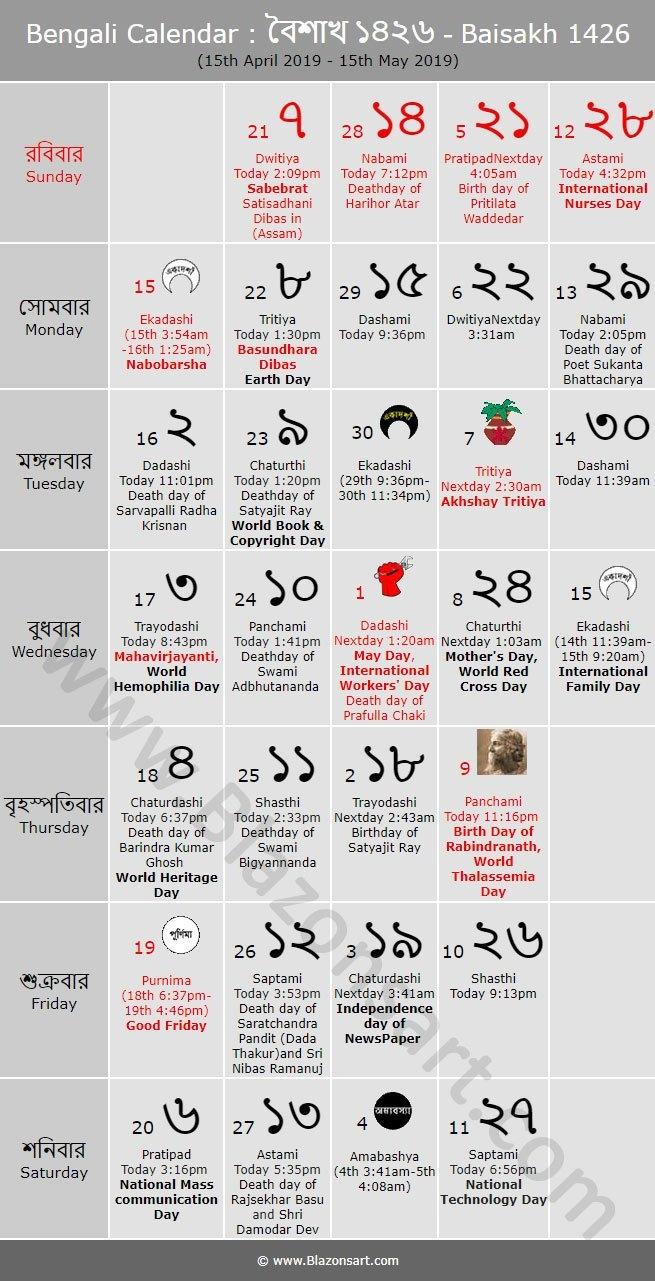 Bengali Calendar – Baisakh 1426 : বাংলা কালেন্ডার Bengali Calendar 2019 20