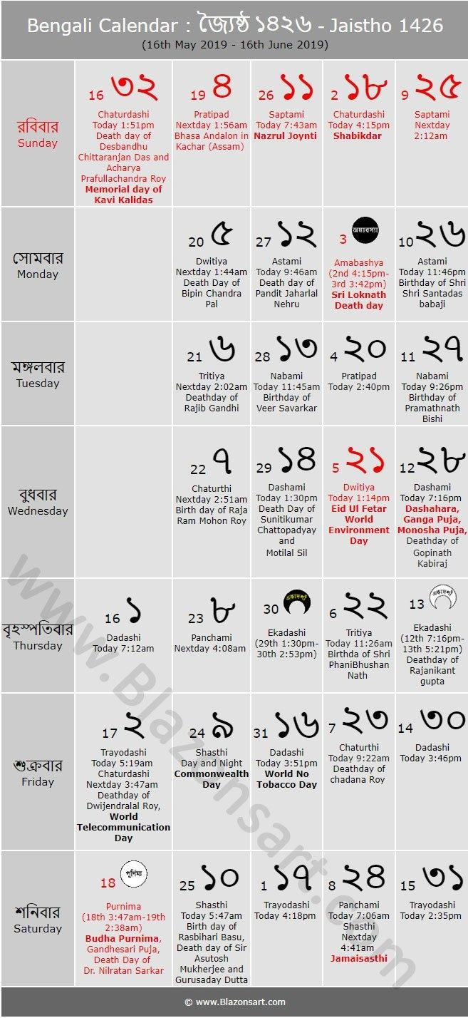 Bengali Calendar – Jaistho 1426 : বাংলা কালেন্ডার Bengali Calendar 2019 20