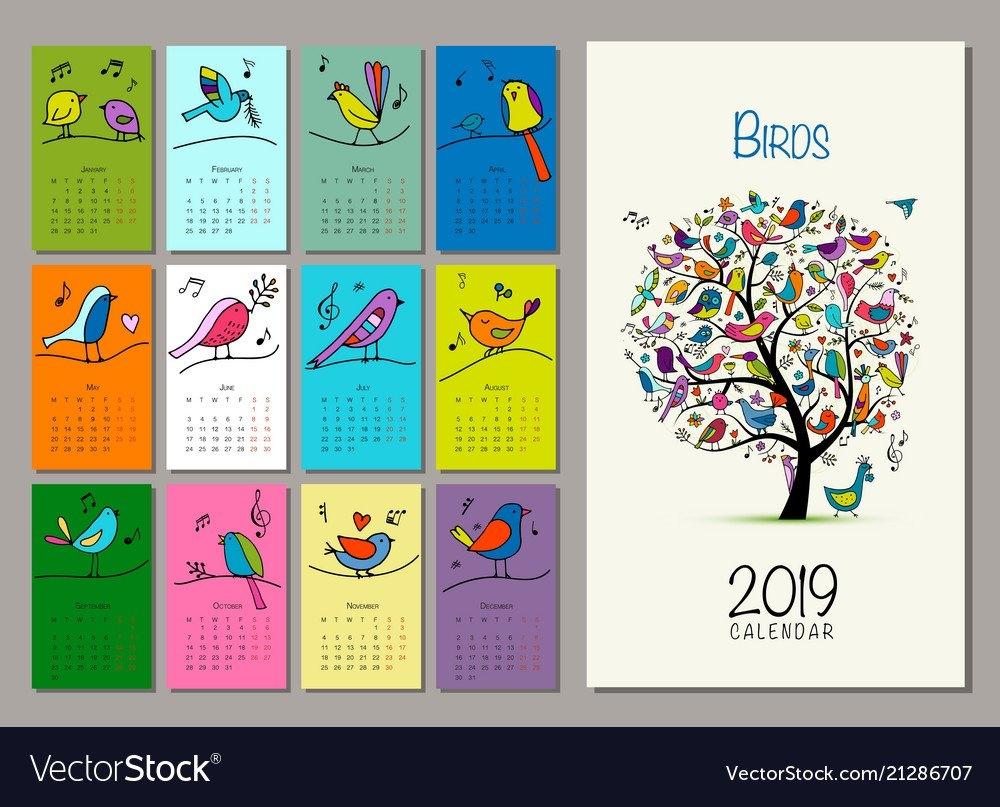 Birds Tree Calendar 2019 Design Royalty Free Vector Image Calendar 2019 Birds