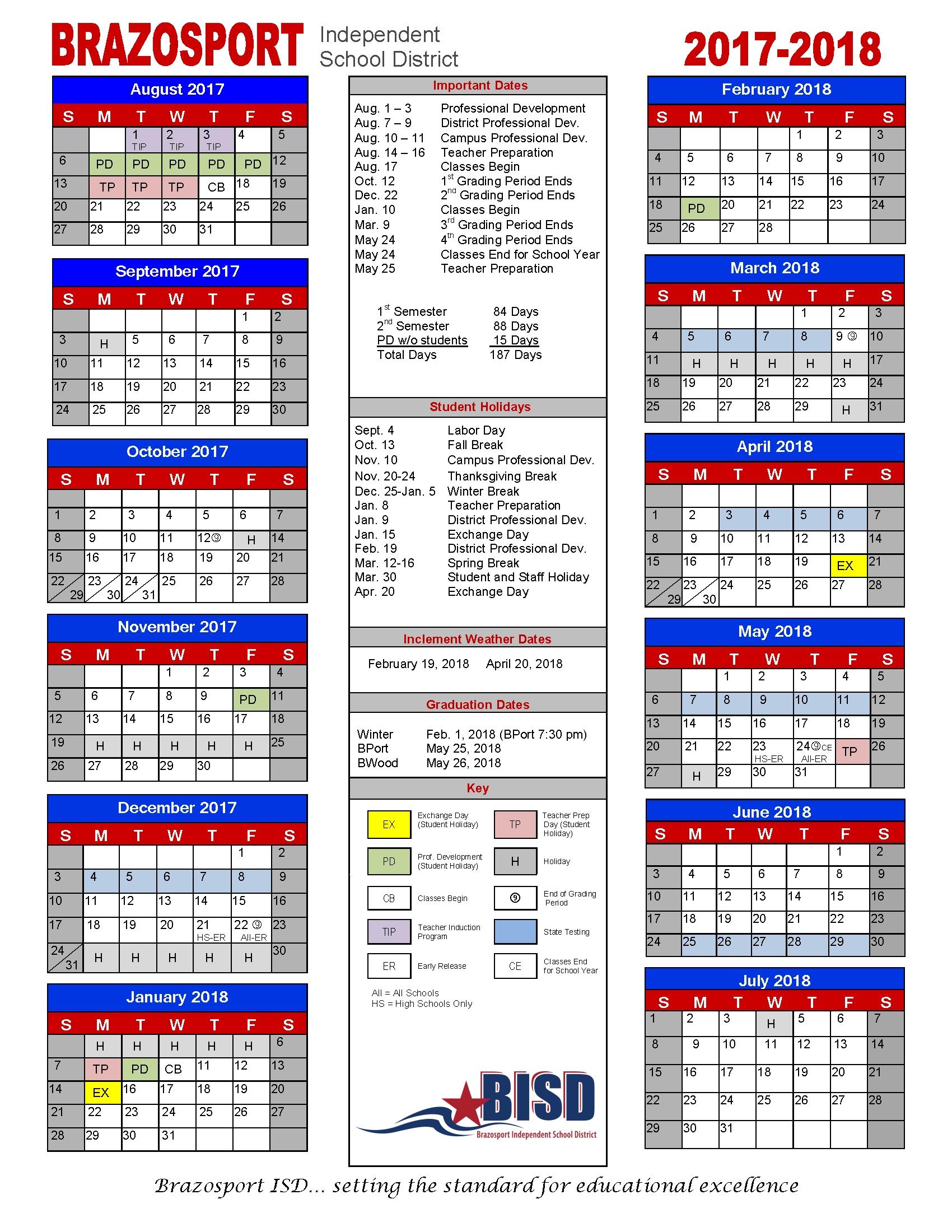 Bisd Board Approves 2017 18 Calendar – Brazosport Independent School Stephen F Austin Calendar 2019