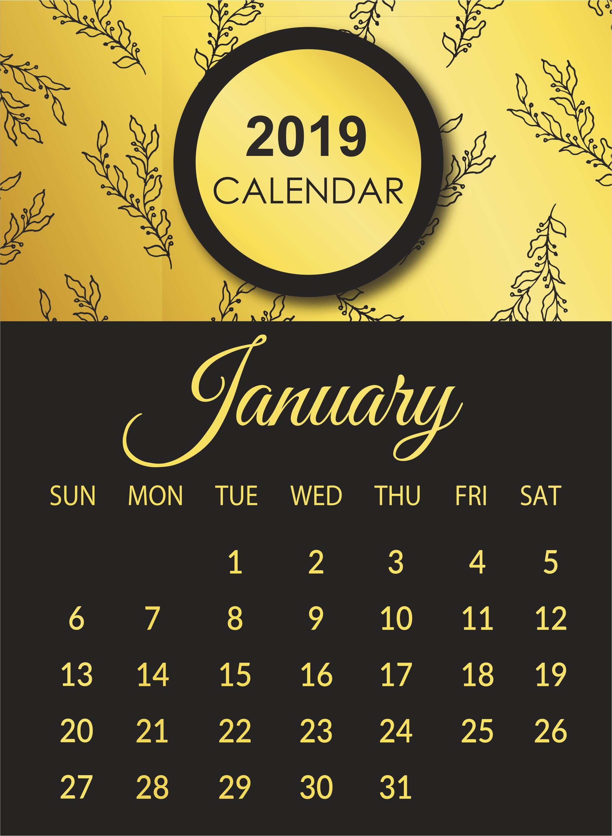 Blank 2019 January Calendar Printable Template Excel | Blank 2019 January 8 2019 Calendar
