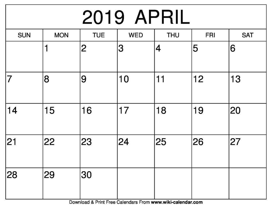 Blank April 2019 Calendar Printable Calendar April 30 2019