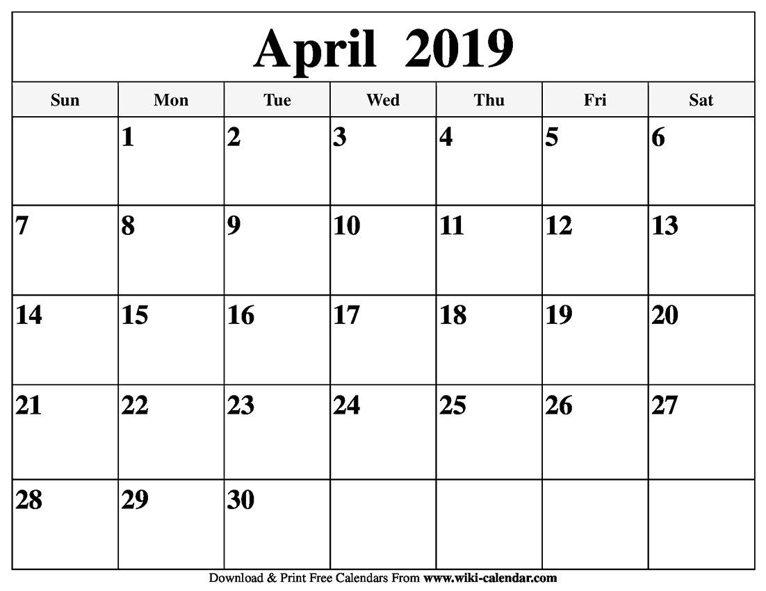 Blank April 2019 Calendar Printable Calendar April 6 2019