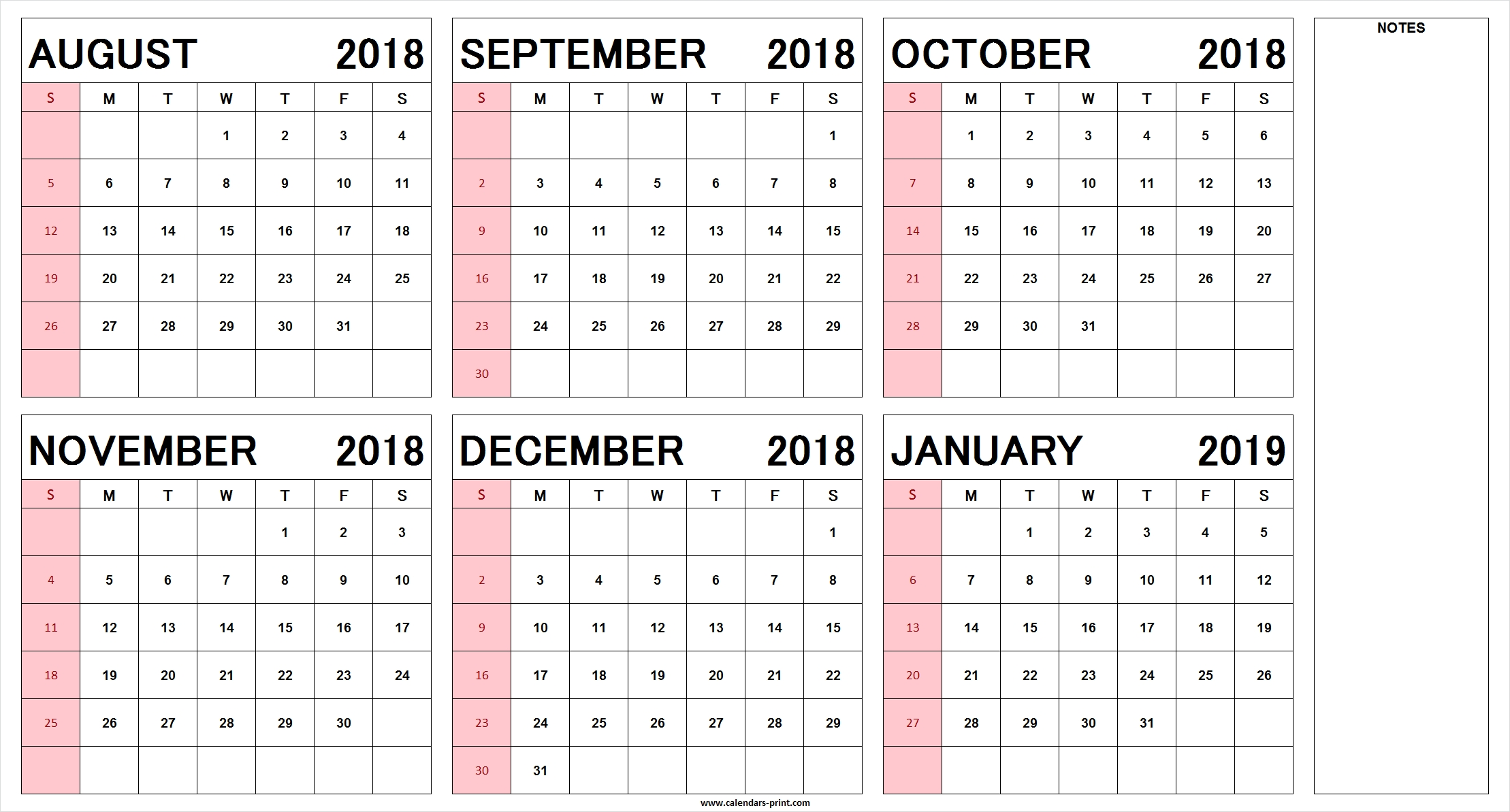 Blank August 2018 To January 2019 Calendar Printable | Pdf | Jpg | Png Calendar 2019 Half Year