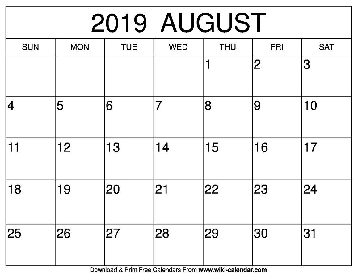 Blank August 2019 Calendar Printable Calendar Of 2019 August