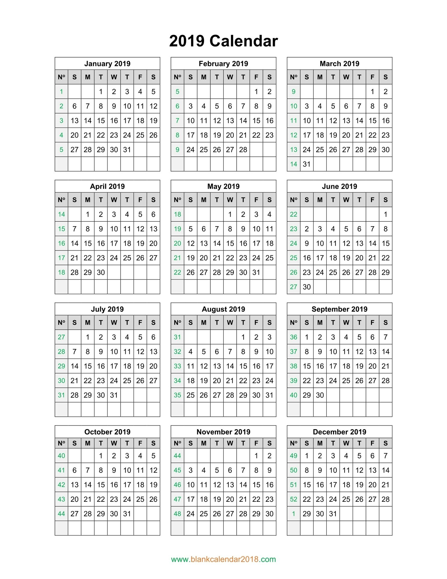 Blank Calendar 2019 1 Page Yearly Calendar 2019