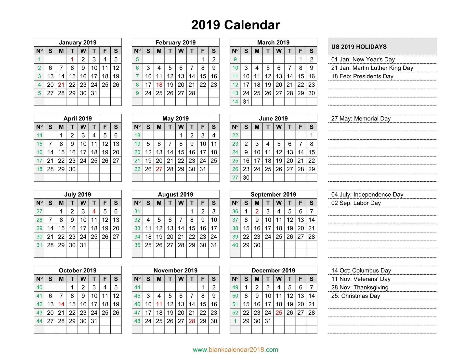 Blank Calendar 2019 Calendar 2019 Showing Holidays