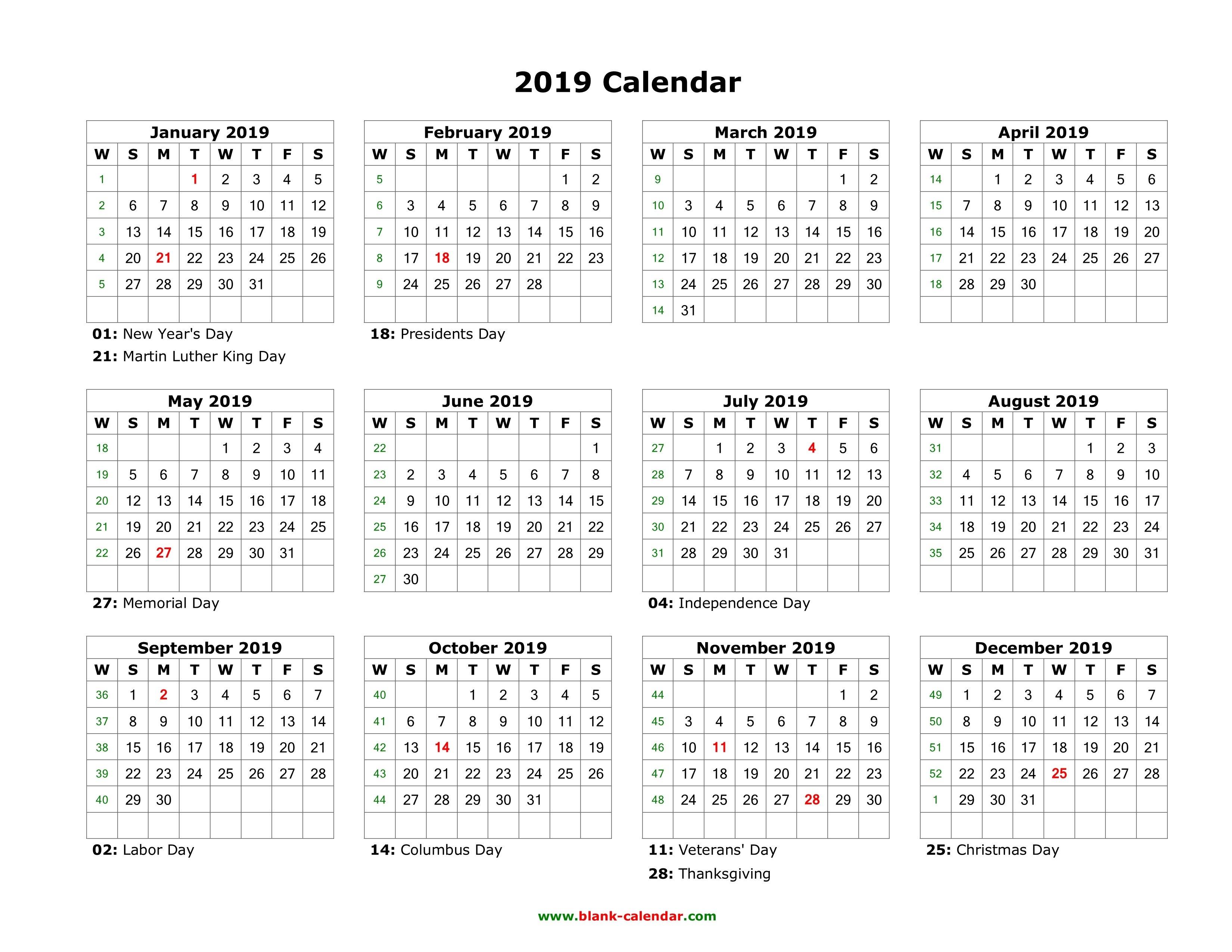 Blank Calendar 2019   Free Download Calendar Templates 1 Year Calendar 2019