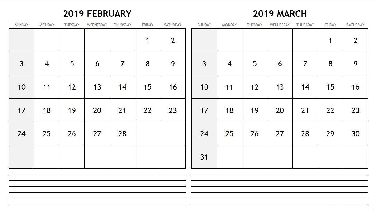 Blank Calendar February March 2019 #february #february2019 Calendar 2019 February And March