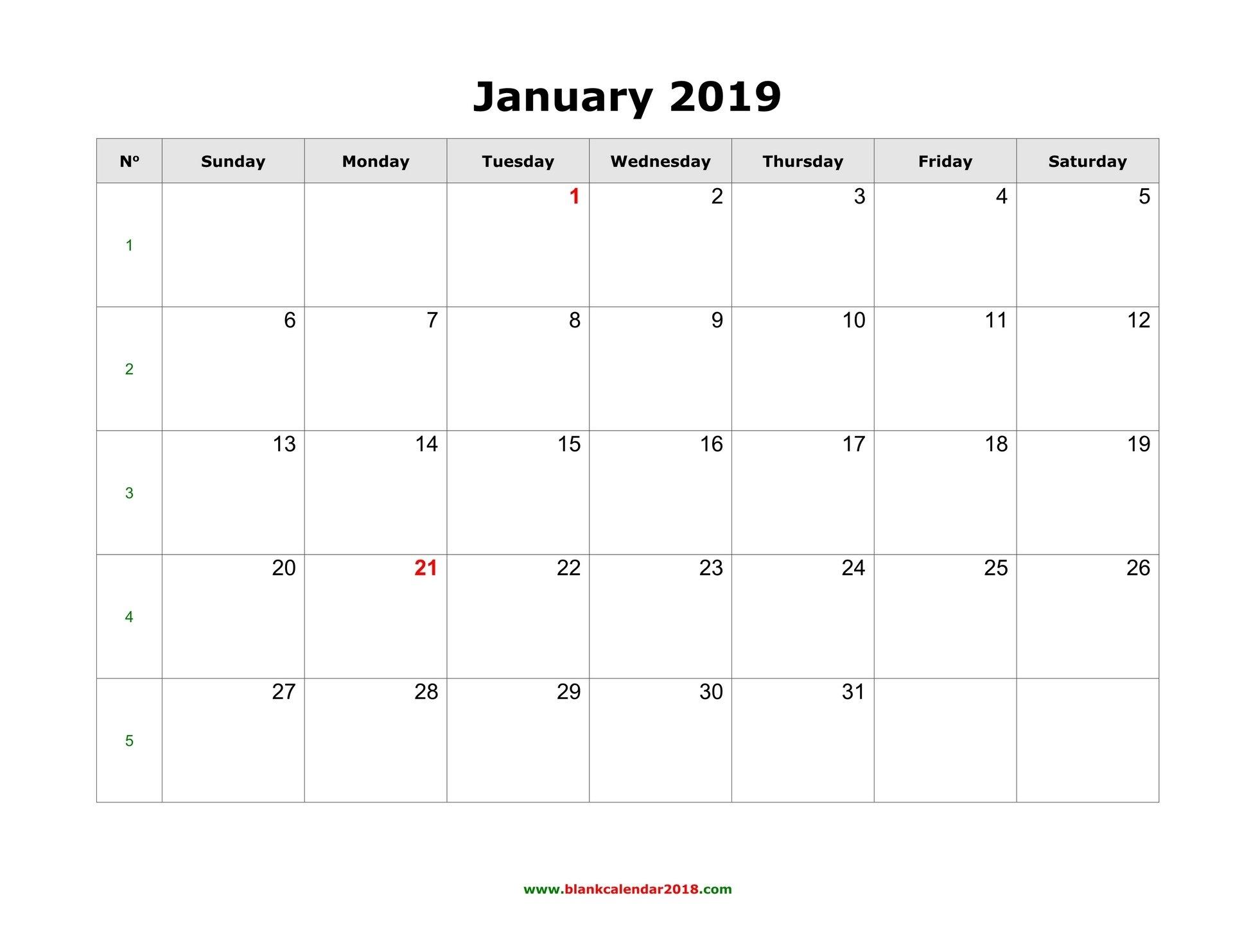 Blank Calendar For January 2019 Calendar 2019 Fillable