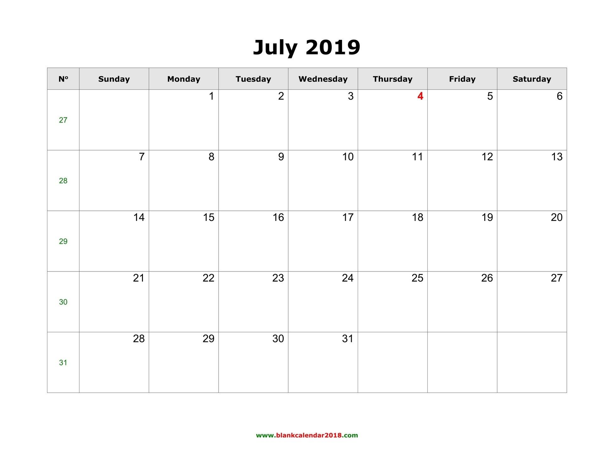 Blank Calendar For July 2019 Calendar Of 2019 July