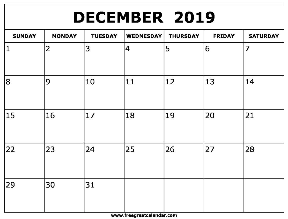 Blank December 2019 Calendar Printable Calendar 2019 Dec