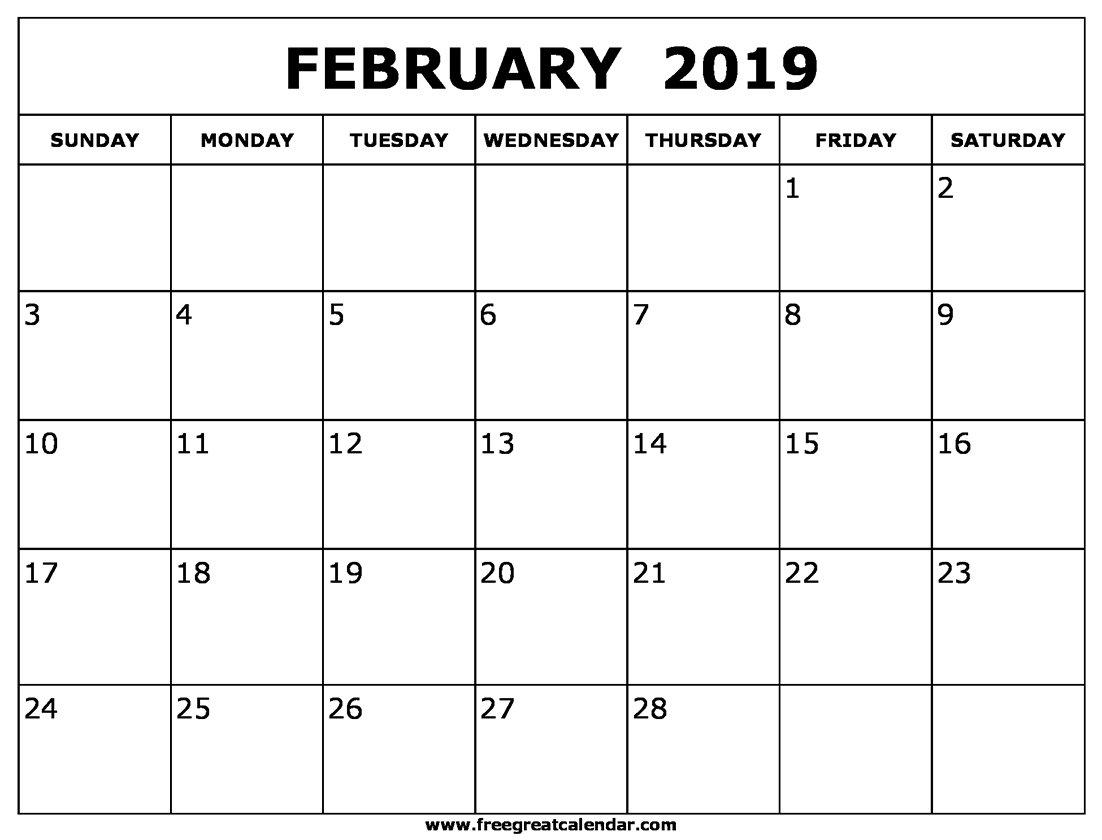 Blank February 2019 Calendar Printable A Calendar For February 2019