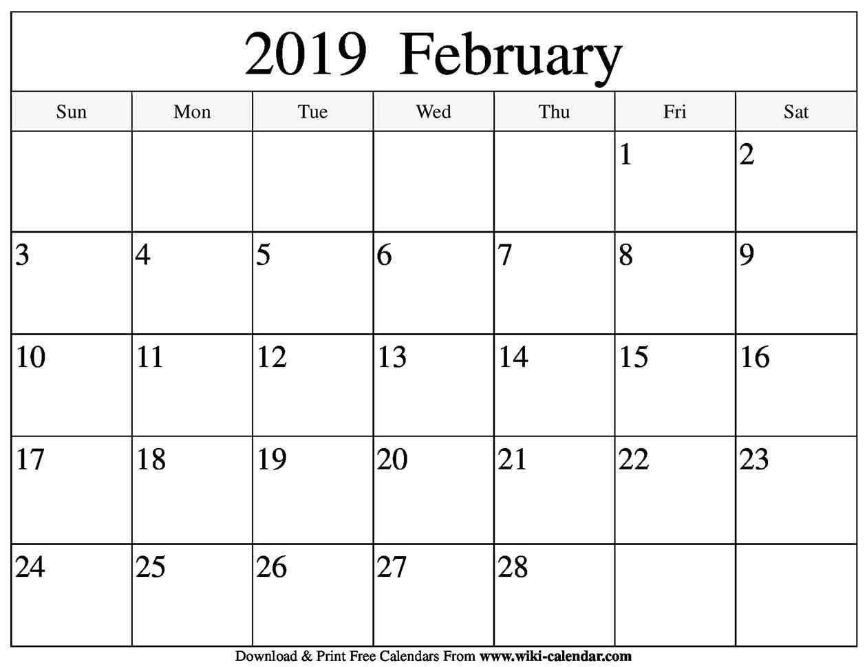 Blank February 2019 Calendar Printable Calendar Feb 8 2019