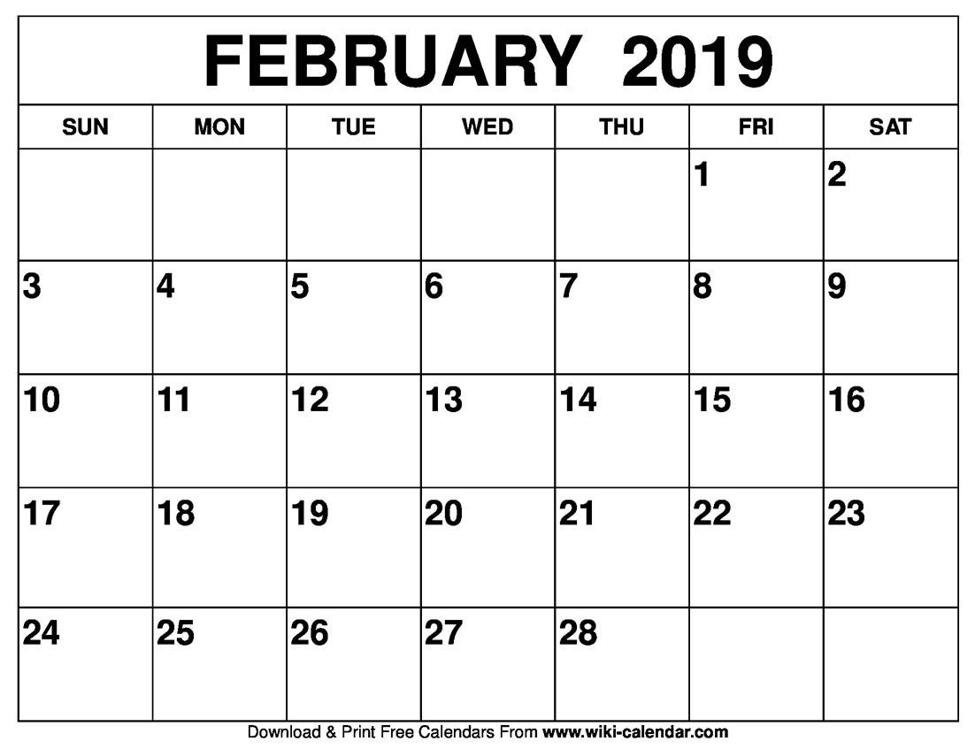 Blank February 2019 Calendar Printable Feb 6 2019 Calendar