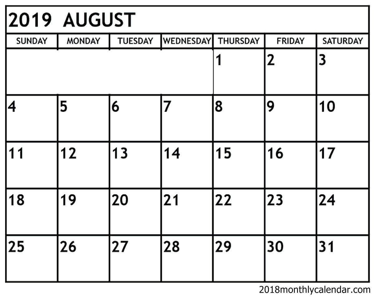 Blank Fillable August 2019 Calendar – Template Calendar Design Calendar 2019 Fillable