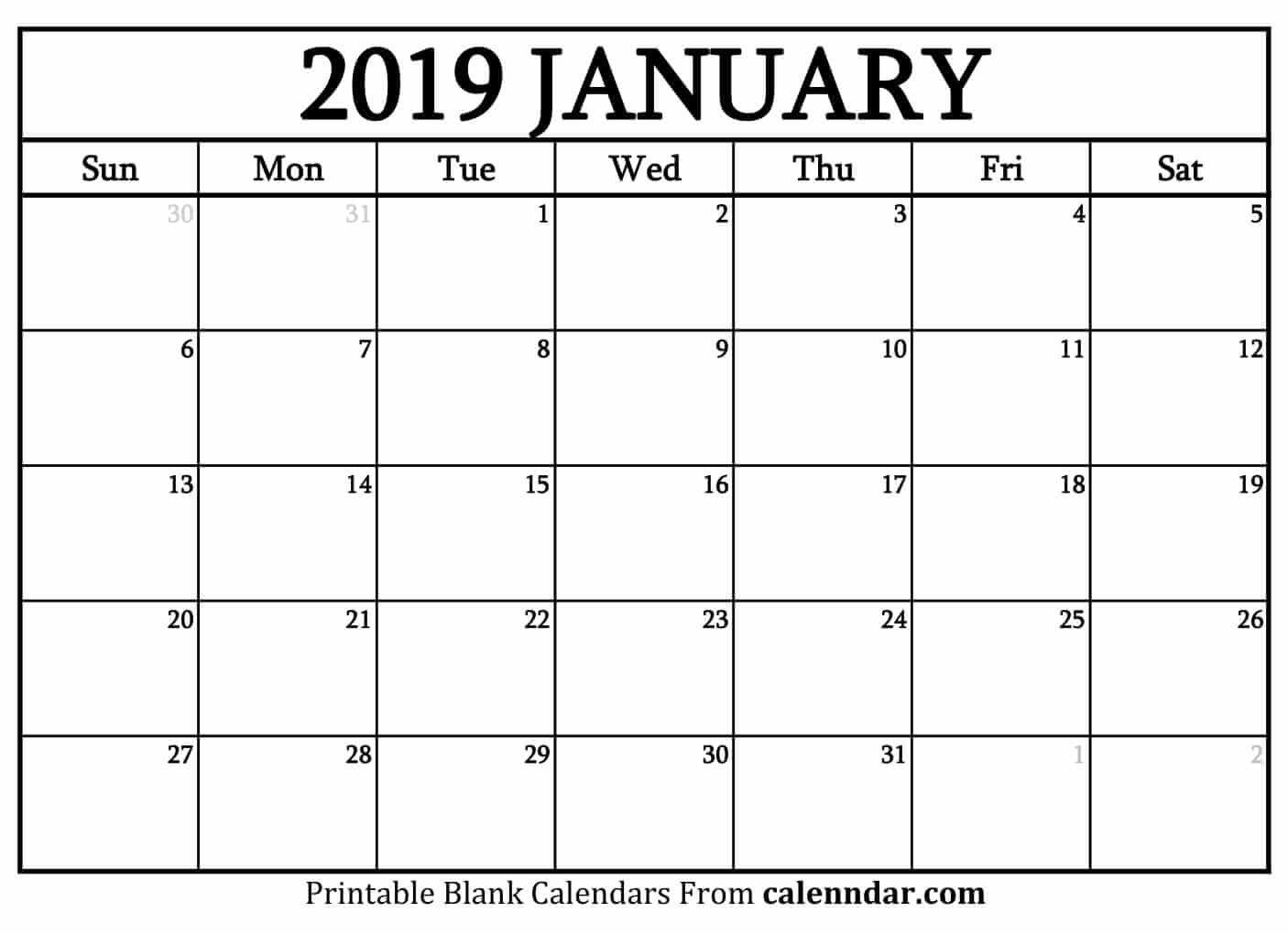 Blank January 2019 Calendar Templates – Calenndar Calendar 2019 January