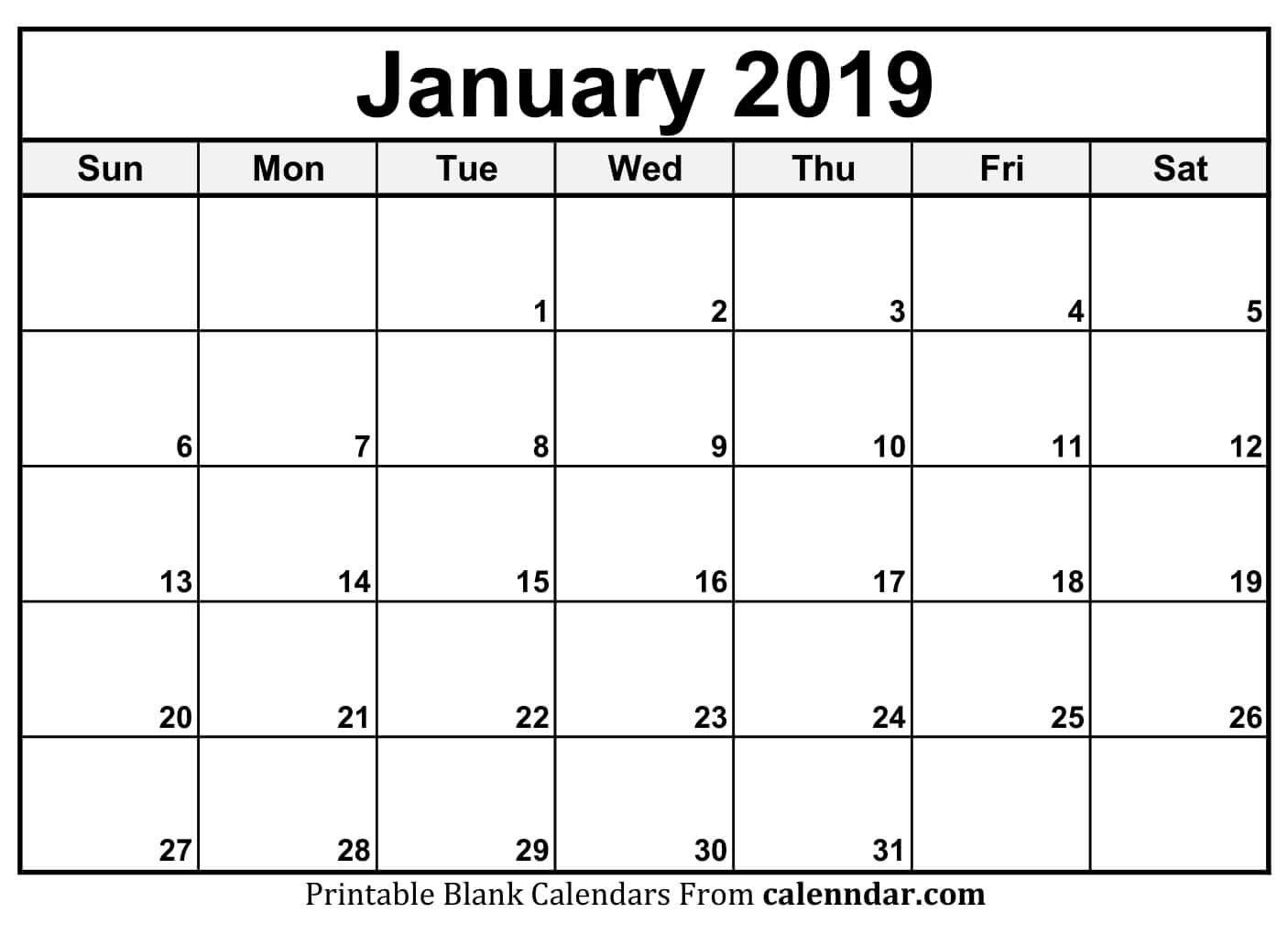 Blank January 2019 Calendar Templates – Calenndar January 2 2019 Calendar