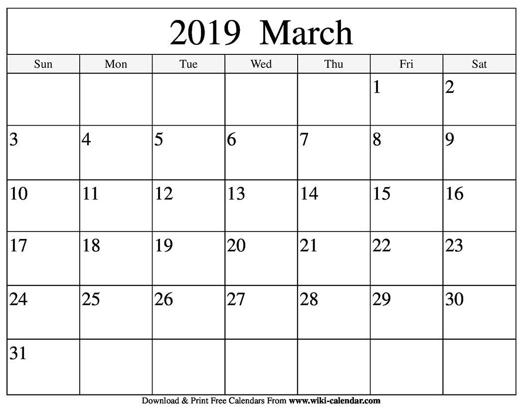 Blank March 2019 Calendar Printable March 1 2019 Calendar