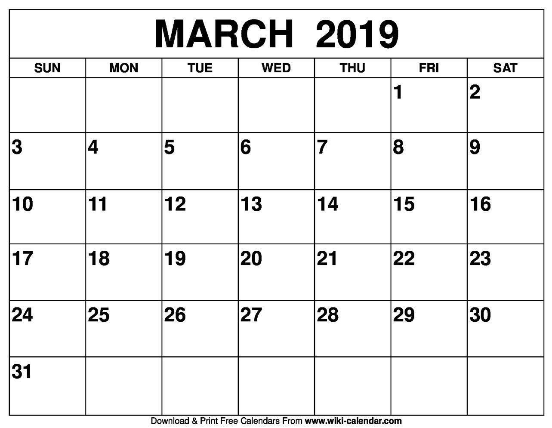 Blank March 2019 Calendar Printable March 9 2019 Calendar