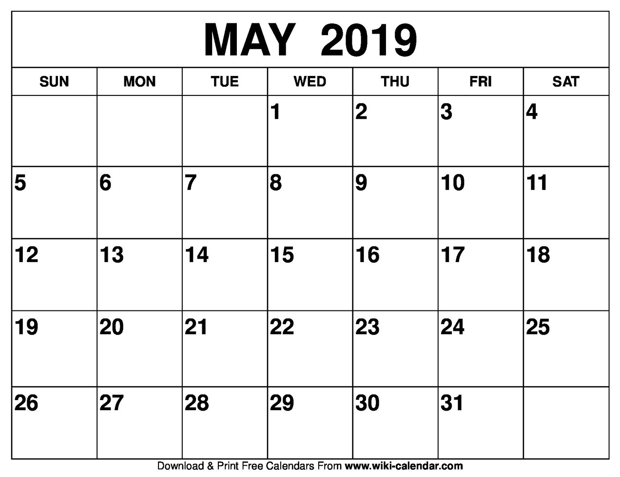 Blank May 2019 Calendar Printable Calendar May 4 2019