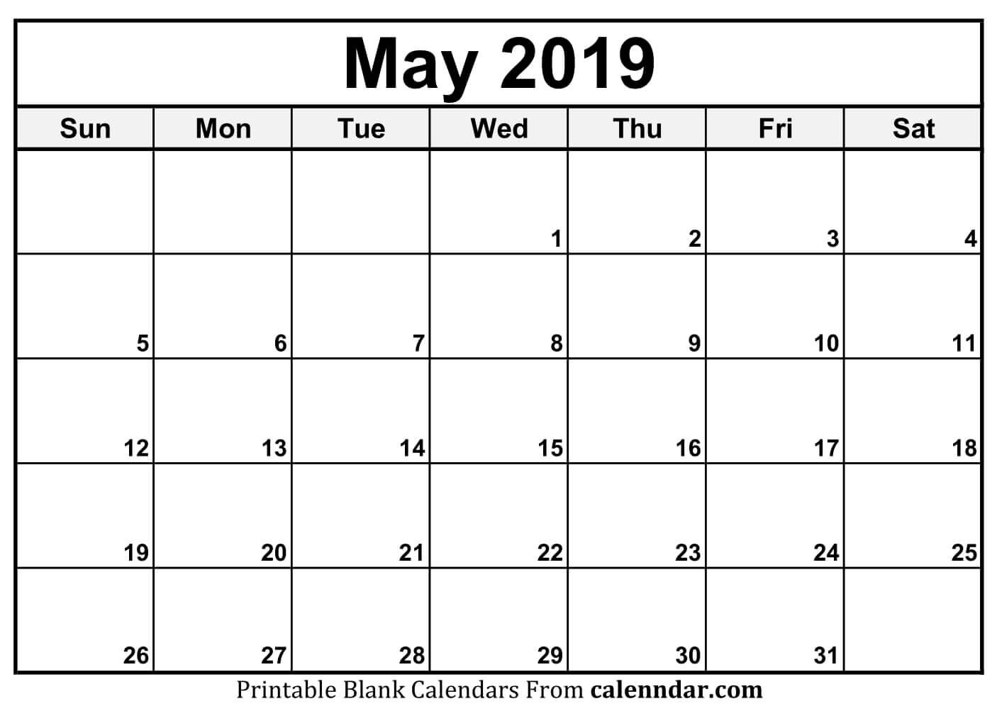 Blank May 2019 Calendar Templates – Calenndar Calendar May 4 2019