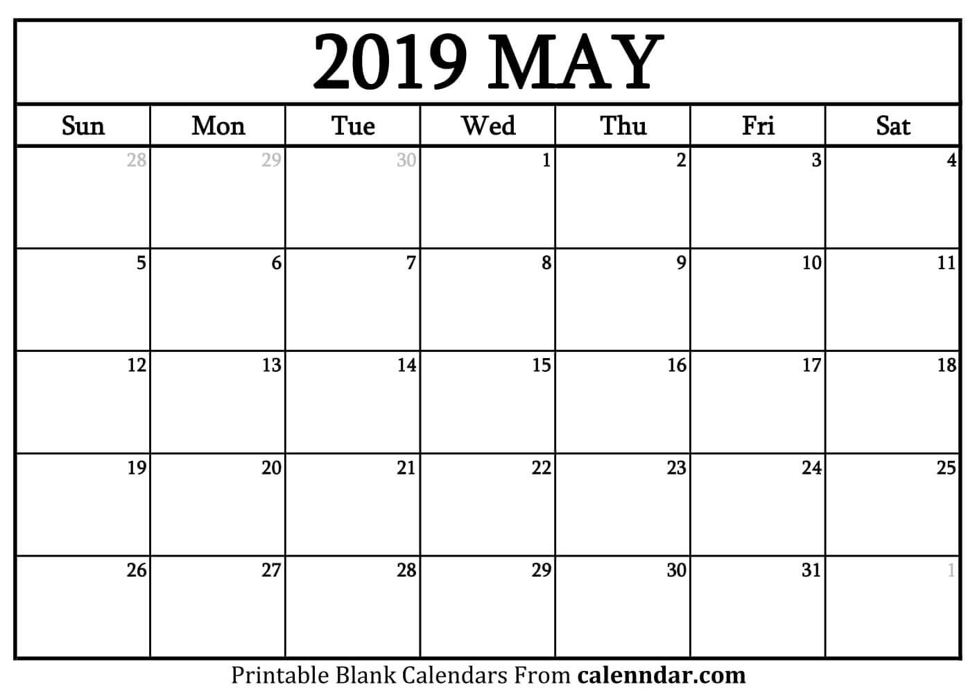 Blank May 2019 Calendar Templates – Calenndar Calendar Of 2019 May
