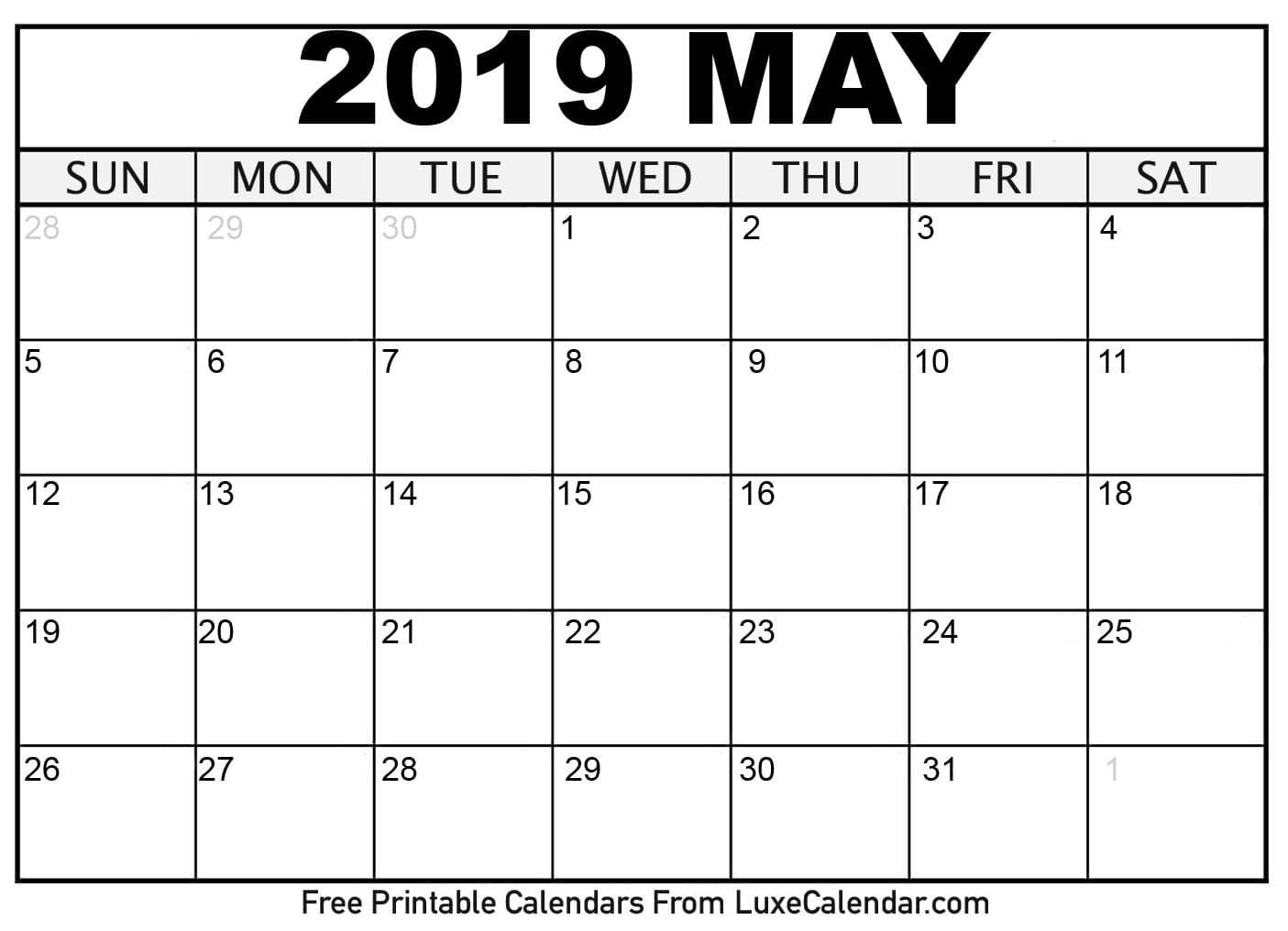 Blank May 2019 Printable Calendar – Luxe Calendar Calendar 2019 May