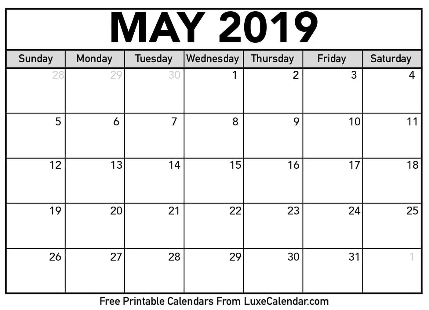 Blank May 2019 Printable Calendar – Luxe Calendar Calendar May 4 2019