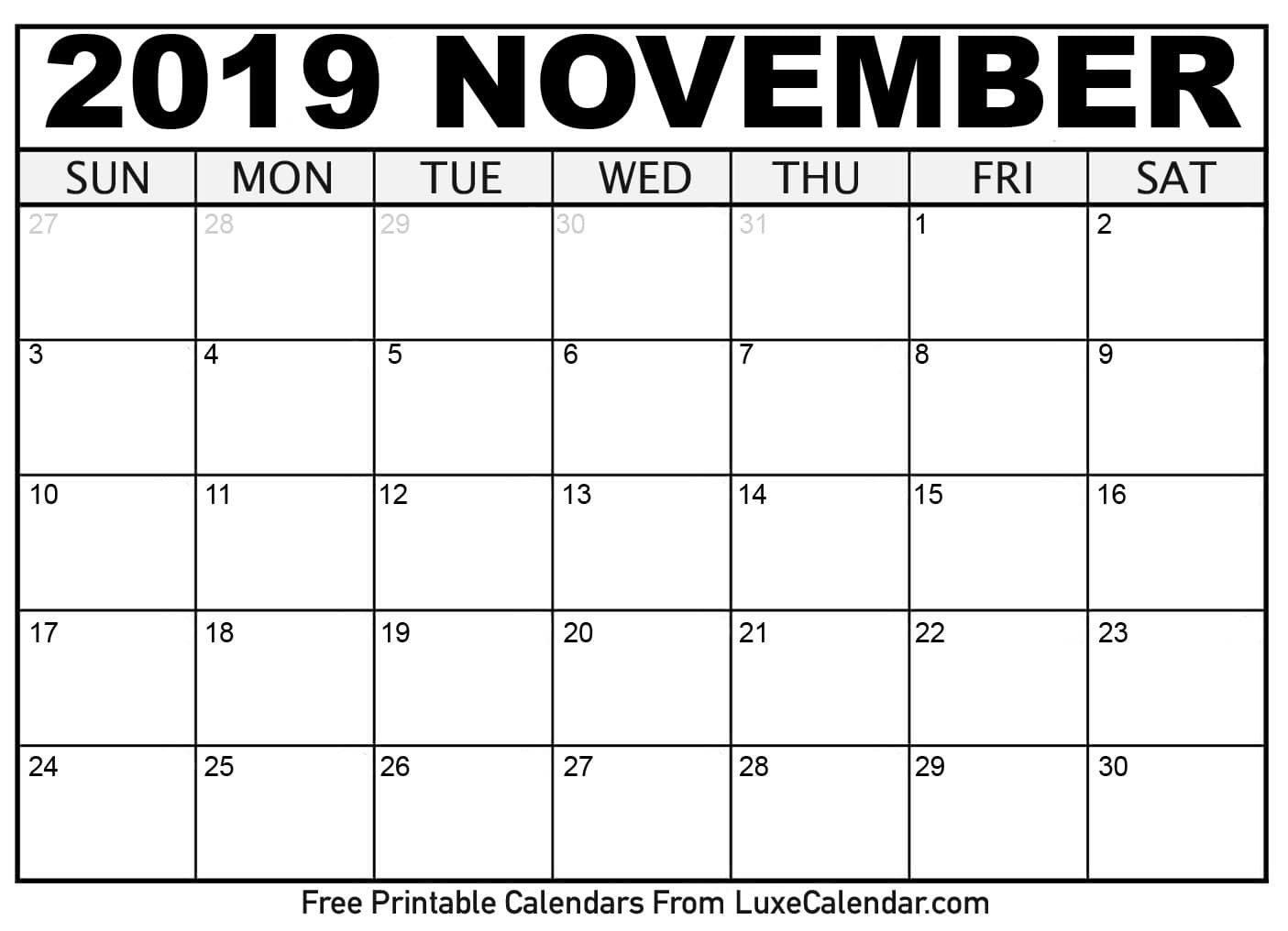 Blank November 2019 Printable Calendar – Luxe Calendar Calendar 2019 November