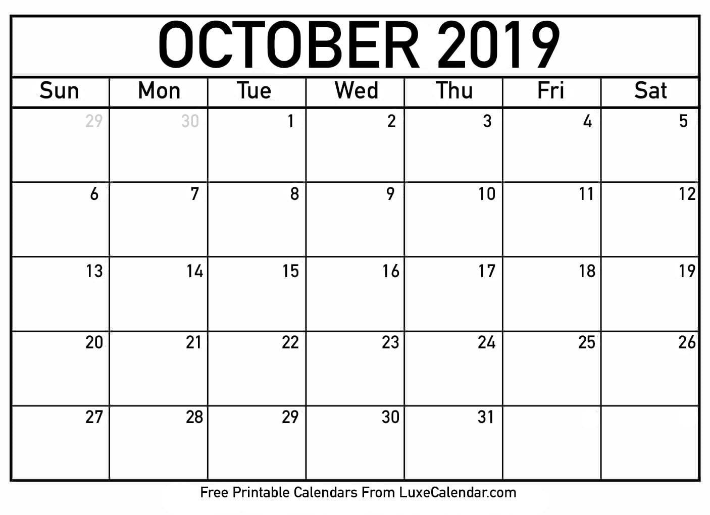 Blank October 2019 Printable Calendar – Luxe Calendar Calendar 2019 Oct