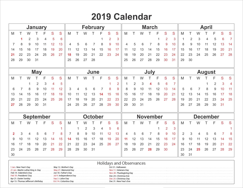 Blank Printable Calendar 2019 With Holidays | Printableshelter Calendar 2019 Google