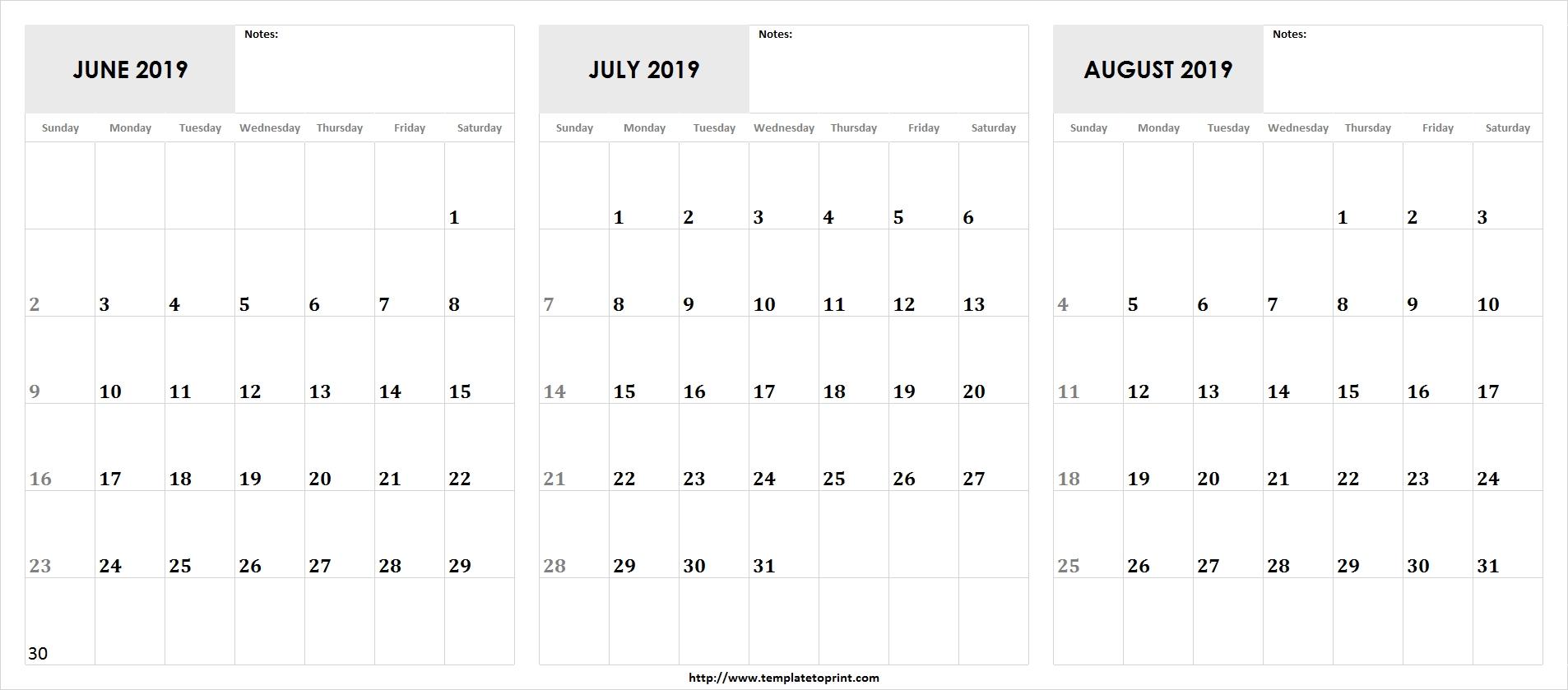 Blank Printable May June July 2019 Calendar » Template To Print Calendar 2019 June July August