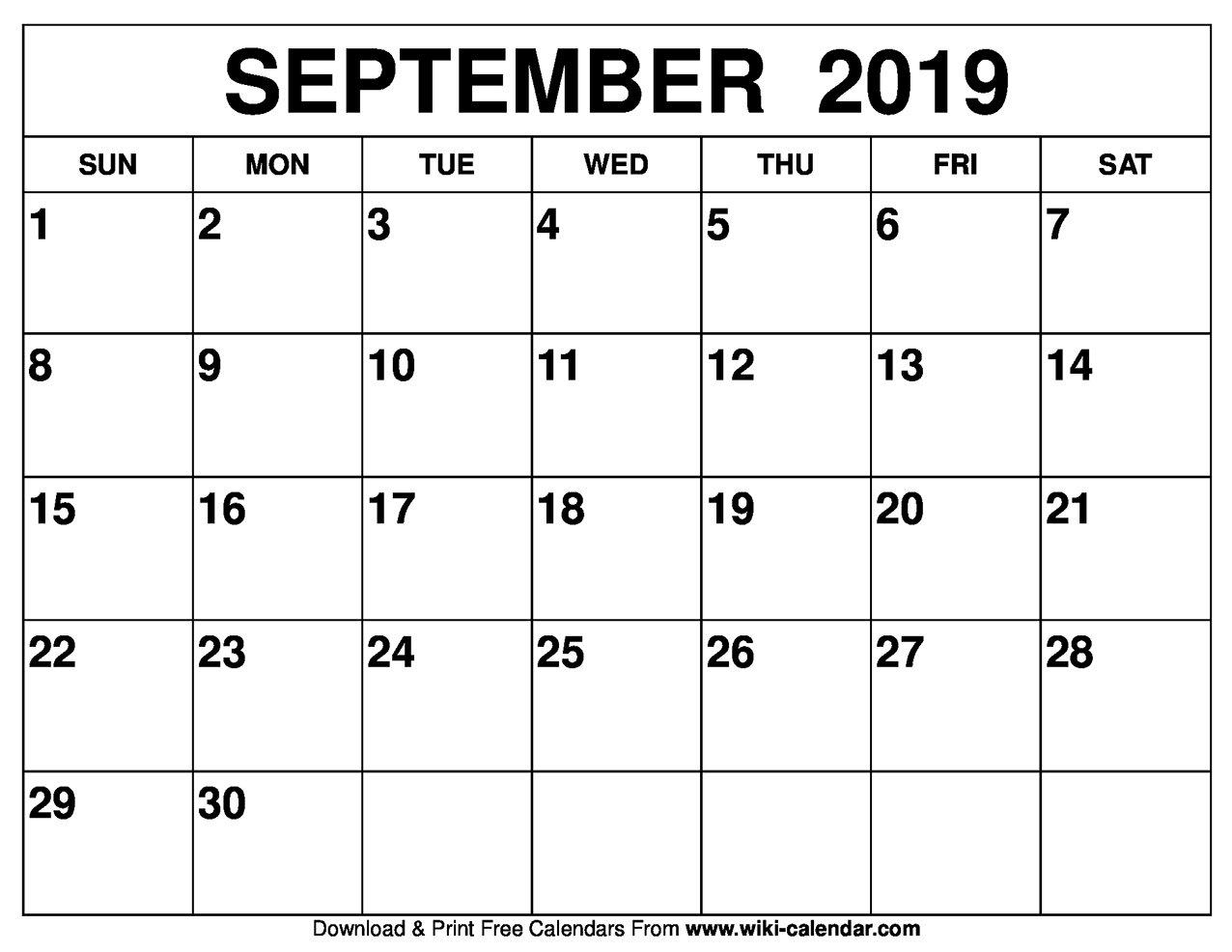 Blank September 2019 Calendar Printable September 7 2019 Calendar