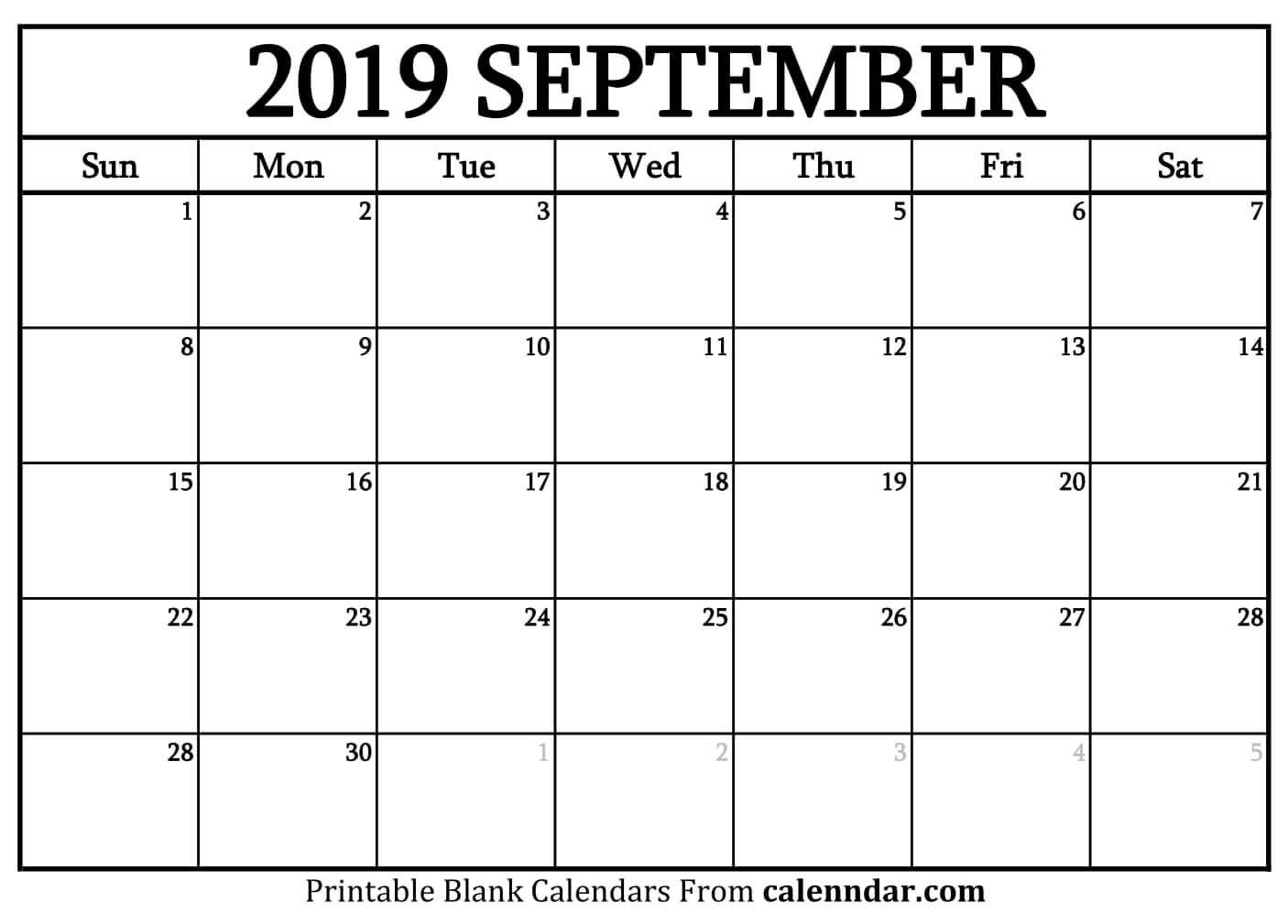 Blank September 2019 Calendar Templates – Calenndar Calendar Of 2019 September