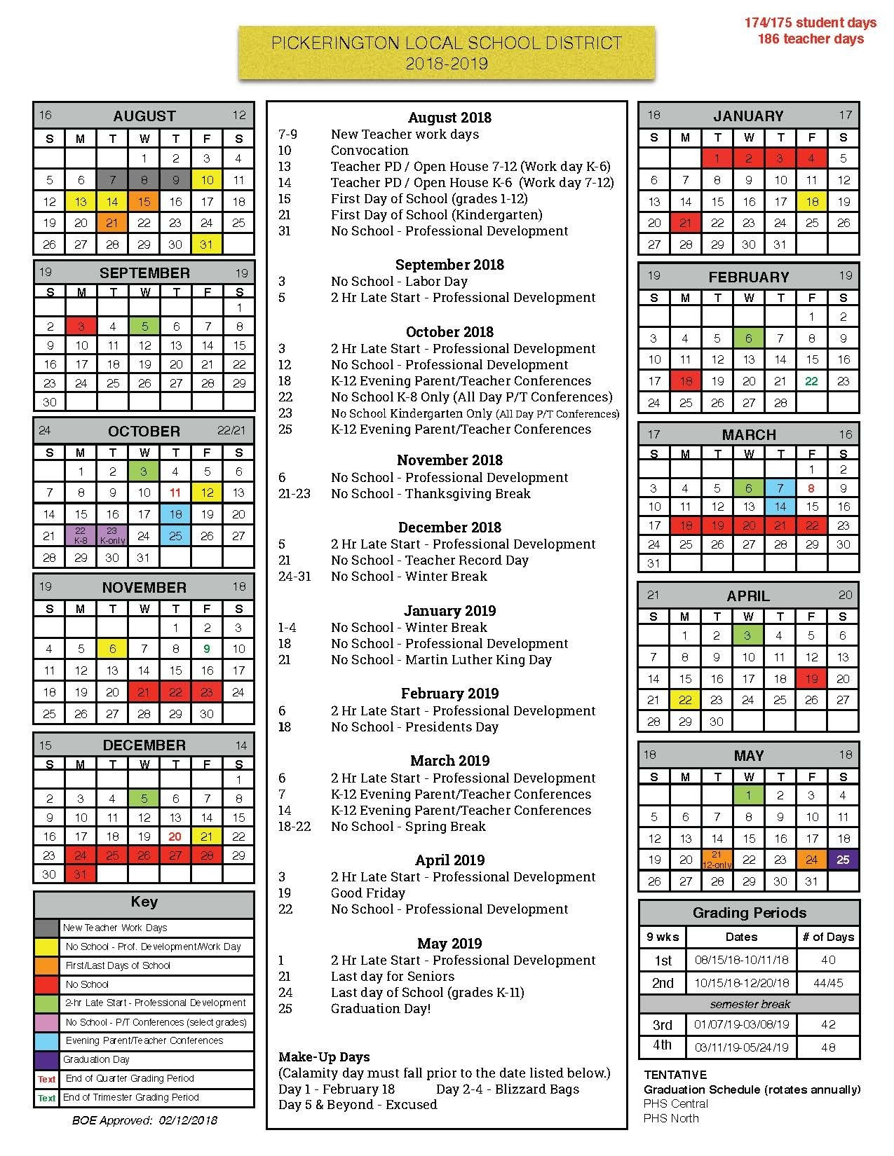 Board Of Education Approves 2018 19 Calendar – Pickerington Local Calendar 2019 School