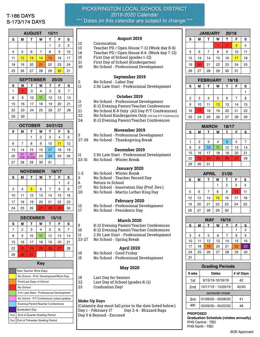 Board Of Education Approves 2019 20 Calendar – Pickerington Local School Calendar 2019 20
