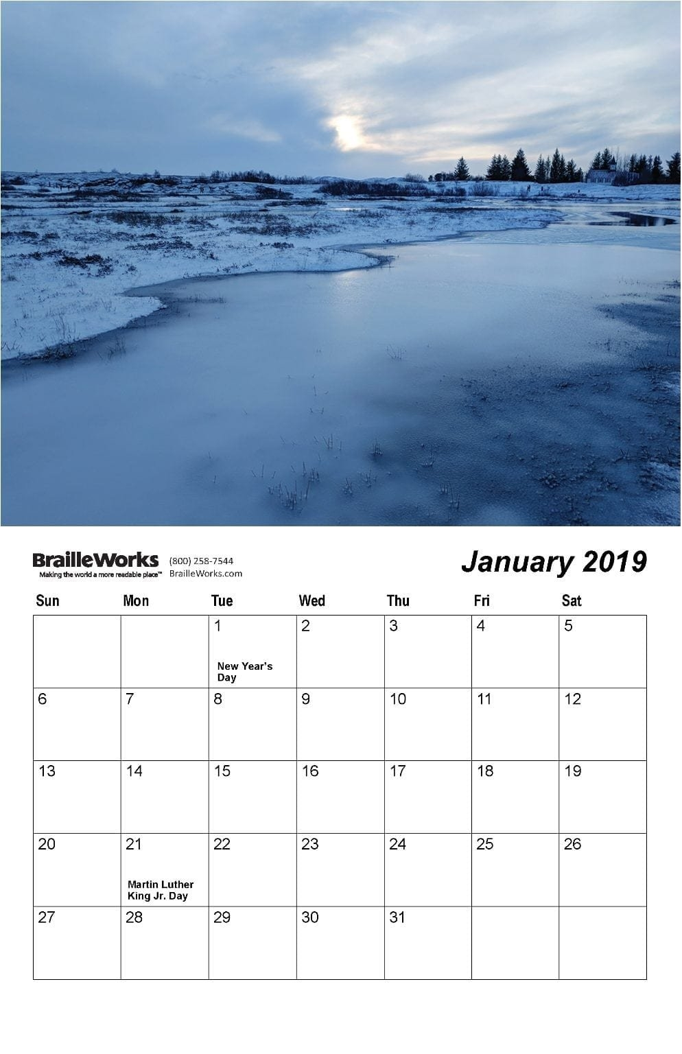 Braille Calendars – Attractive And Accessible – Braille Works Indiana U Calendar 2019