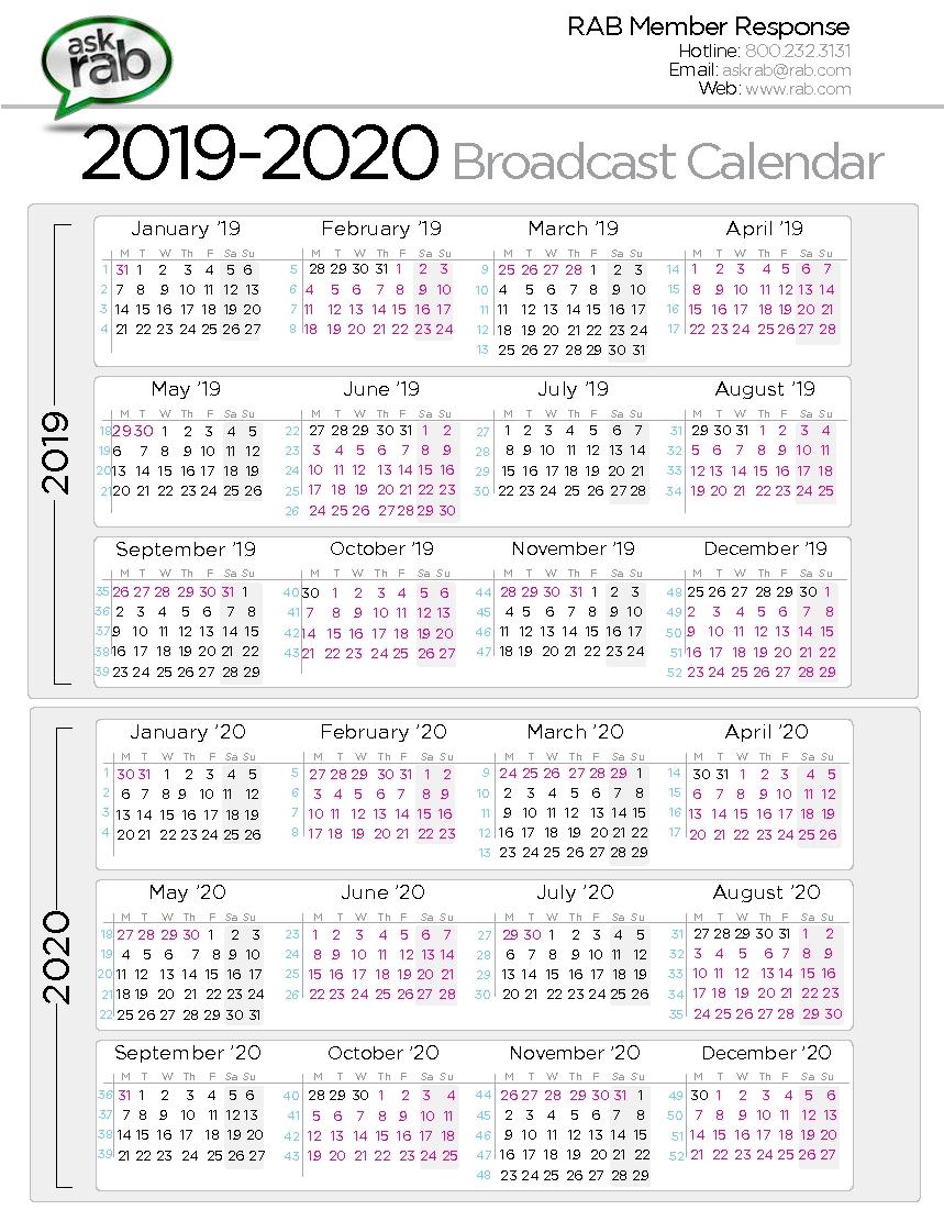 Broadcast Calendars | Rab Calendar Week 50 2019